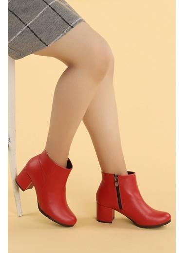 Ayakland Ayakland 520 Cilt 6 Cm Topuk Termo Taban Bayan Bot Ayakkabı Kırmızı